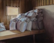 """Feedsacks"". Oil on panel. 2016. Private Collection. Artist, Suzanne Lago Arthur."
