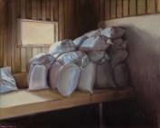 """Feedsacks"". Oil on panel. 2016. Private Collection. Artist, Suzanne Lago Arthur."