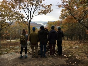 Lagom Landing Gap Year Staff and Students facing away from the camera, looking over Lake George in the Adirondack Mountains.