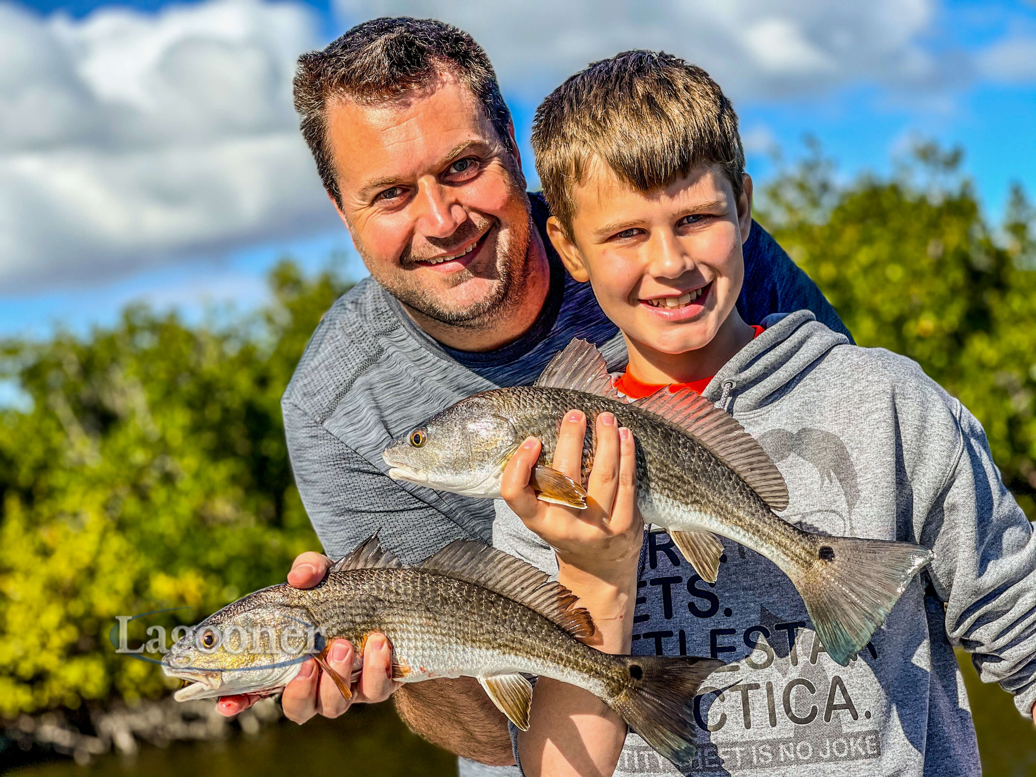 multiple redfish on the Indian River Lagoon