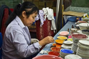 The colours are also natural. We saw only women working here - takes small and steady hands