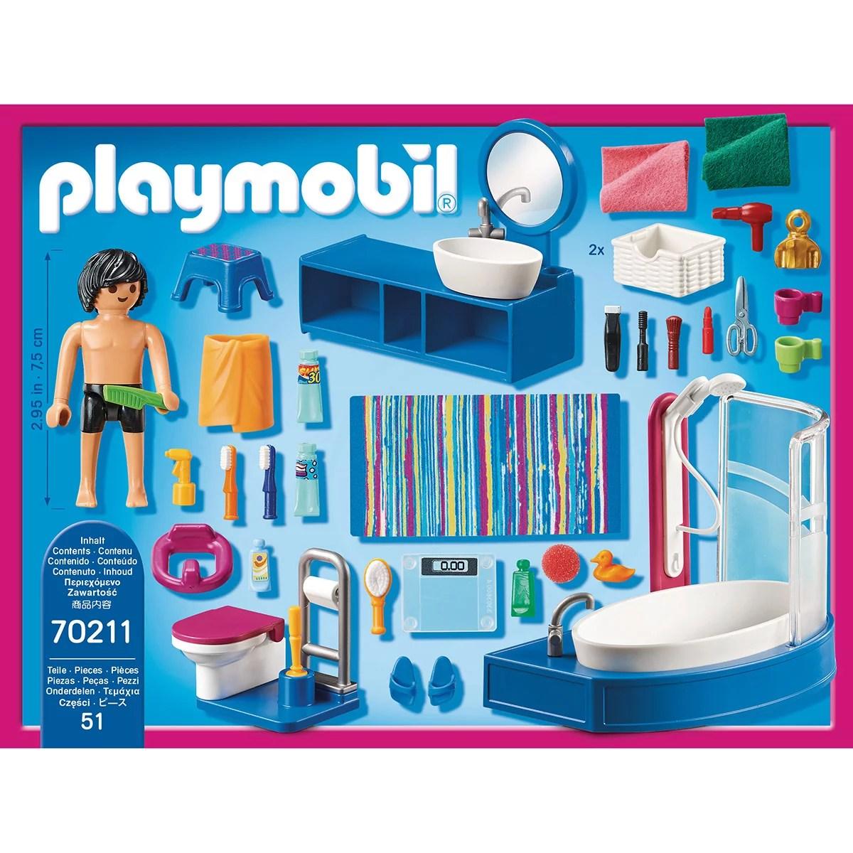salle de bain avec baignoire playmobil dollhouse 70211