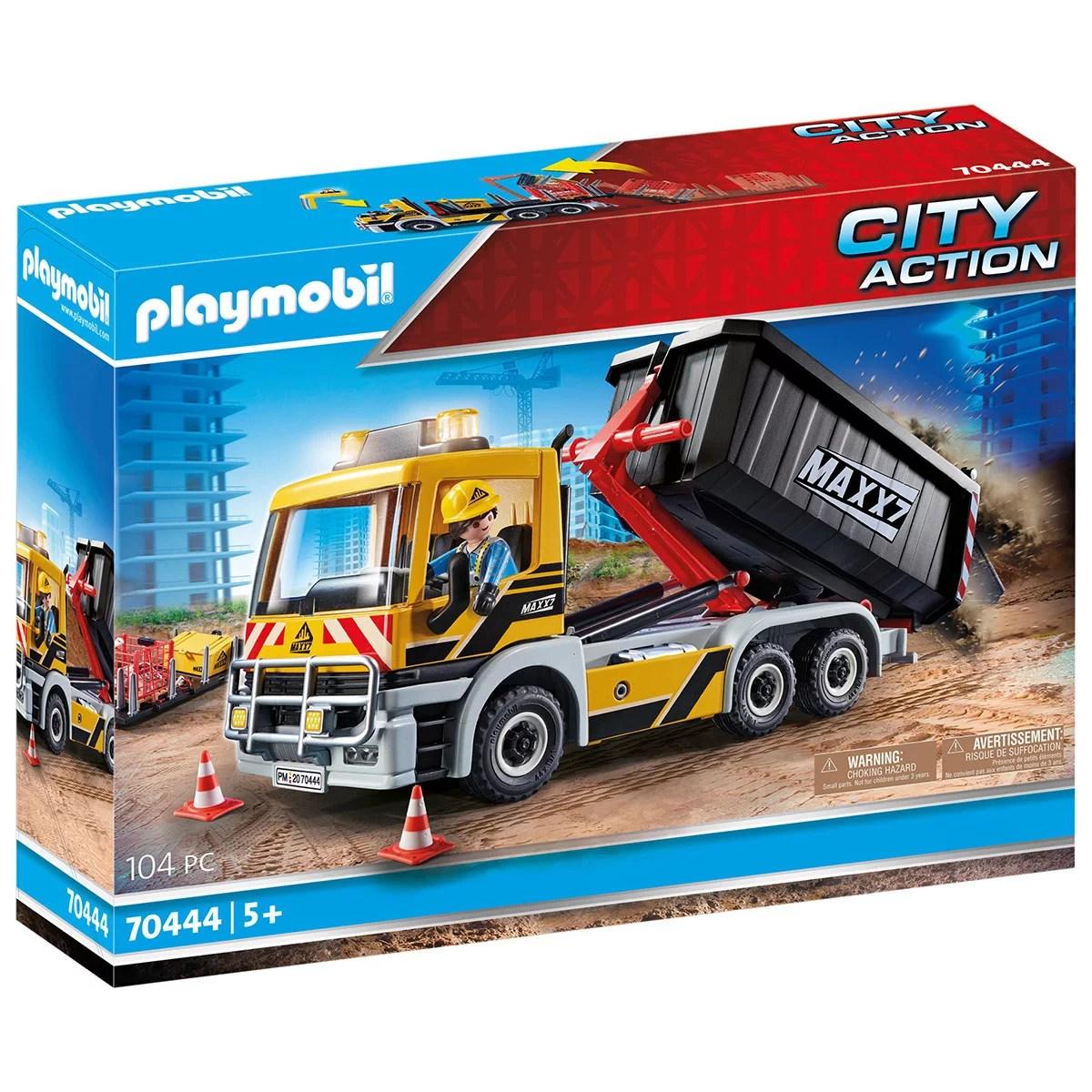 camion avec benne et plateforme playmobil city action 70444