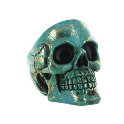 Cendrier skull polyrésine bleu