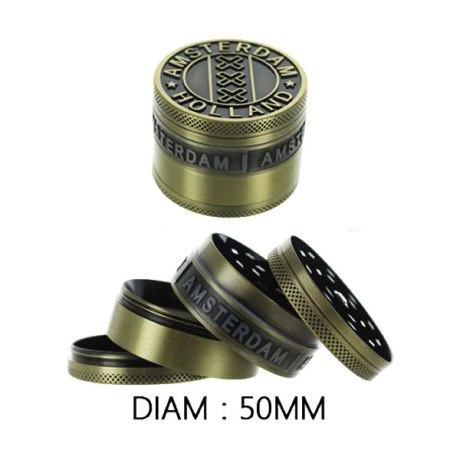 "Grinder métal ""Amsterdam 4 parties (Gold). Dim:50mm"