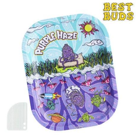 """Plateau métal Best Buds """"Purple Haze"""" + Grinder aimanté plastique. Dim : 18 x 14cm"""