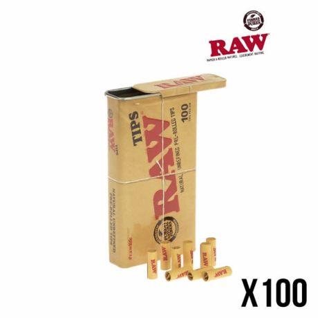 Boîte de 100 filtres préroulés fournis dans une belle boîte en fer réutilisable.
