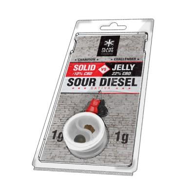 solide 10% vs jelly 22% sour diesel 1g + 1g