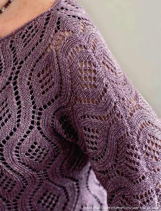 Tricot un pull avec un très joli point