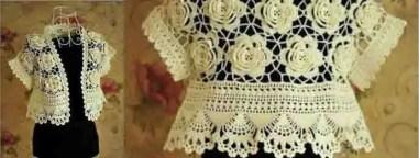 Crochet un superbe gilet de fleurs