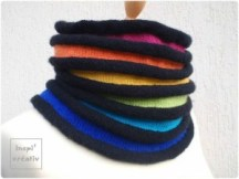 Snood au tricot arc en ciel