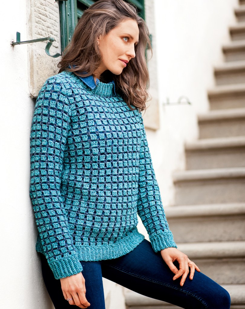 un pull avec le point de brique au crochet