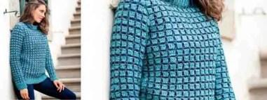 Un pull avec le point de brique au crochet