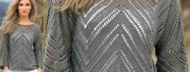 un pull aux lignes géométriques au tricot