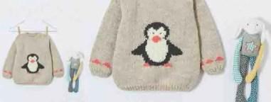 Le pull pingouin de pingouin au tricot