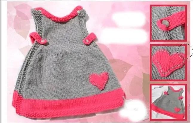 Une robe Chasuble Bébé au tricot