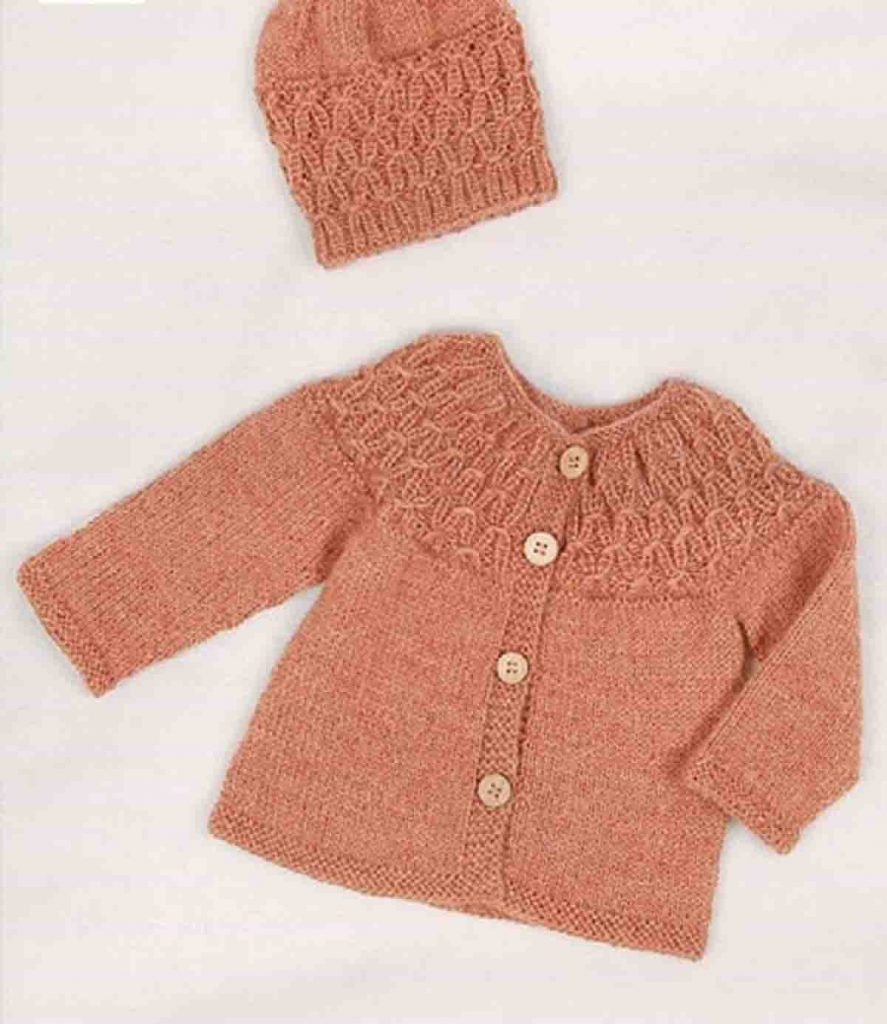 Tuto une brassière bébé point fantaisie au tricot