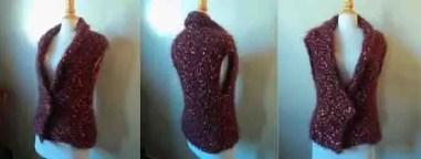 Cardigan sans manches femme au tricot