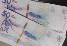 Billetes falsos de 50 mil pesos, están circulando en Fonseca.