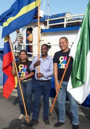 Clara Medina y Wilberth Gertruida, miembros del Grupo Empresarial Gran Caribe y Yesith Medina, de Malecom Grupo Empresarial. Son las dos empresas que se han creado con la finalidad de unir a todos los empresarios para comercializar con las islas del Caribe.