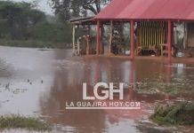 Aspecto de la creciente que ha causado el río Cañaverales en el resguardo de Caicemapa, en el municipio de Distracción.