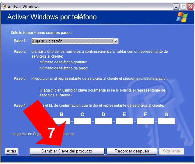 clave de producto de windows 7