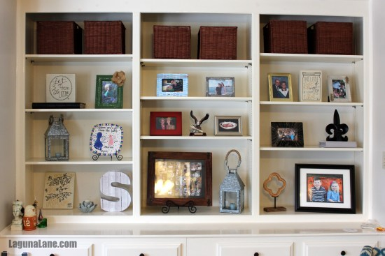 Declutter & Rearrange Built-In Shelves | Laguna Lane