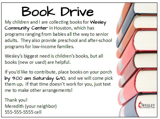 Book Drive Free Flyer Printable Example | Laguna Lane