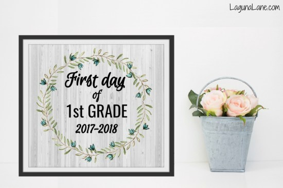 Farmhouse First Day of School Free Printable with Flower Bucket | Laguna Lane