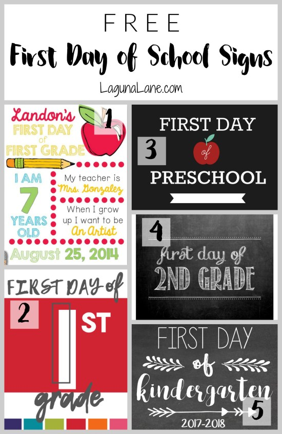 First Day of School Free Printable Signs | Laguna Lane