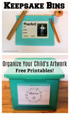 Keepsake Bins - Organize & Store Children's Artwork - Free Printables! | Laguna Lane