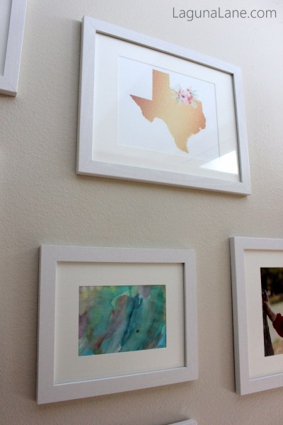 Budget Gallery Wall - Free Printable and Daughter's Artwork | Laguna Lane