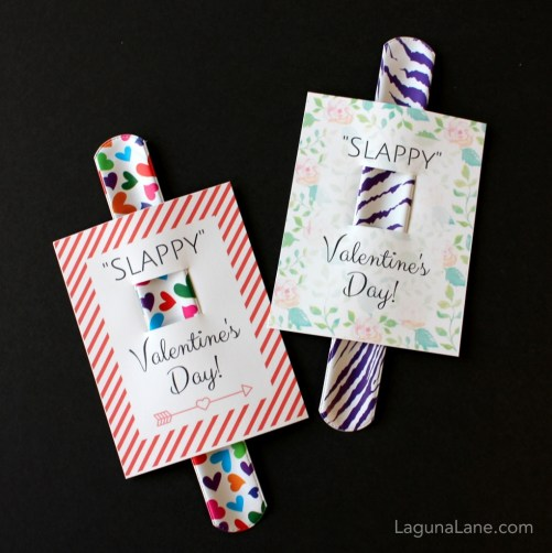 DIY Valentine's Day - Slappy Valentine's Day - Free Printable Kid Slap Bracelet Valentine's Day Cards | Laguna Lane