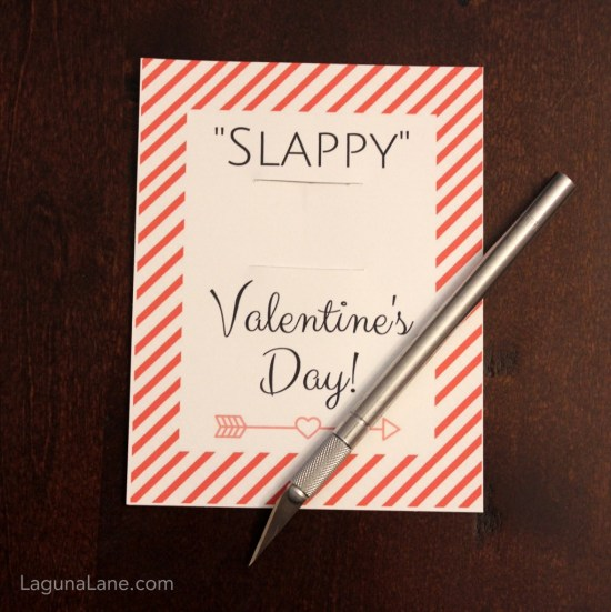Slappy Valentine's Day - Free Printable Slap Bracelet Valentine's Day Cards - Cutting Slits for Bracelet | Laguna Lane