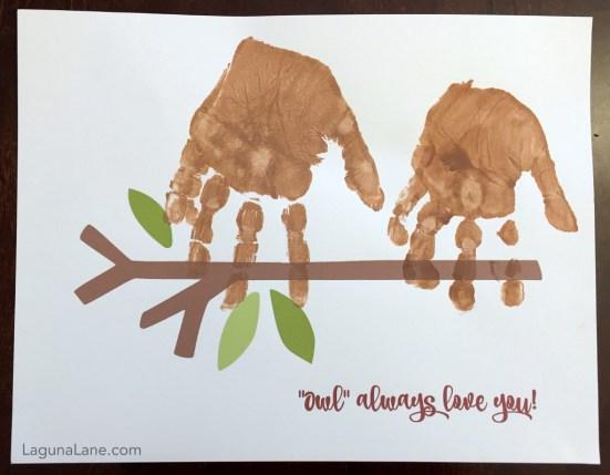 Owl Always Love You Handprint Craft - Such a sweet craft or gift from children | Laguna Lane