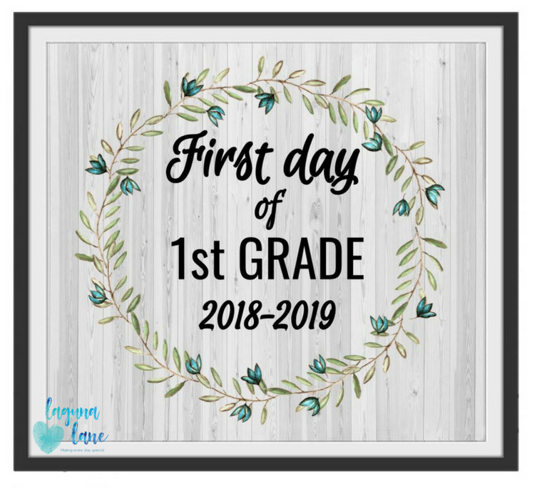 photo regarding Printable Frame named Farmhouse Very first Working day of College Symptoms 2018-2019 No cost