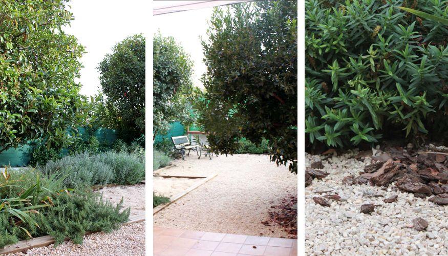 en el jardn optamos por un pavimento de grava con arena apisonada que permita que el fuera mnimo sin perder una buena sensacin de jardn