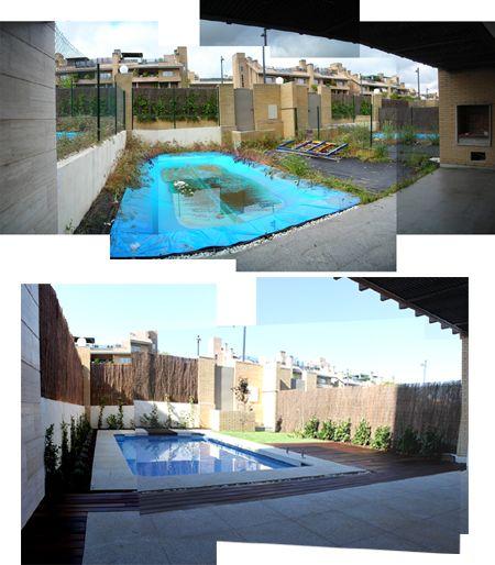 jardin de diseño con piscina antes y despues obra