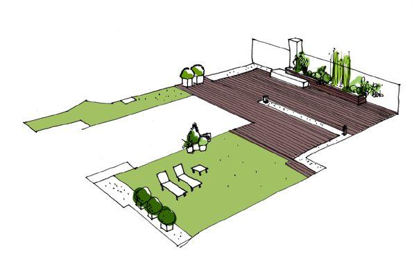 Croquis del jardín reformado. Diseño de jardín en La Moraleja.