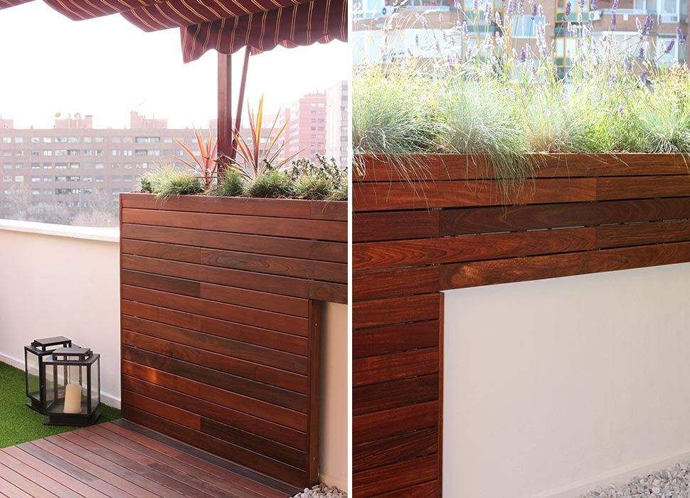 Terraza en Madrid con madera de exterior