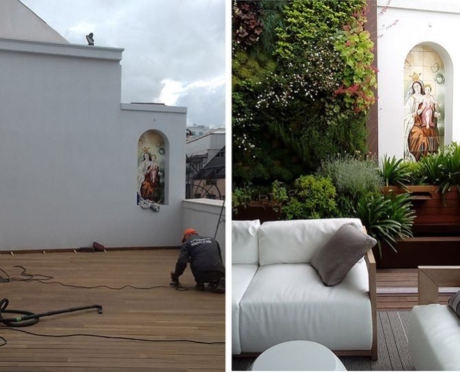 Antes y después de una terraza en Madrid