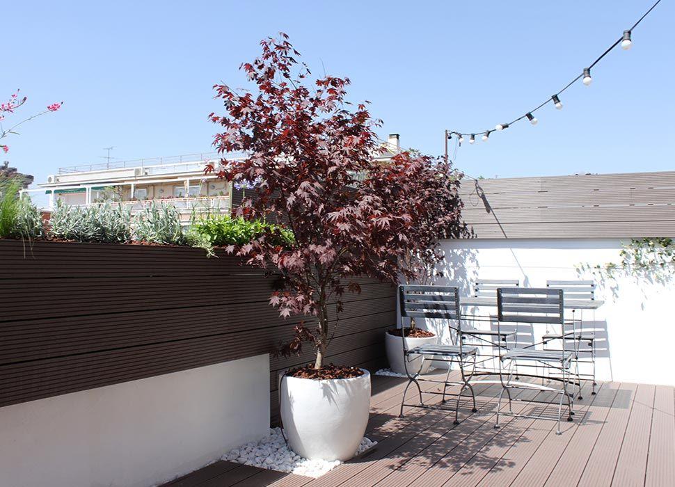 Terraza con jardín en Madrid