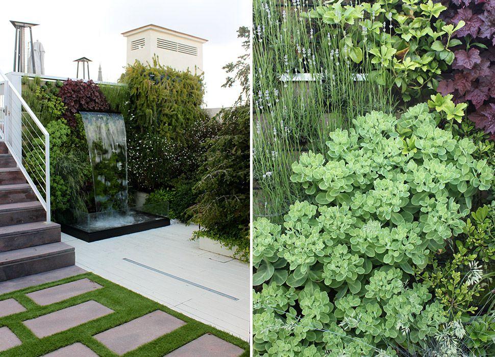 Jardín con fuente con cascada