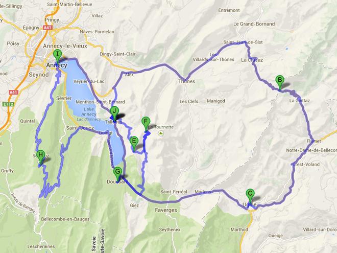 Itinéraire lac Annecy