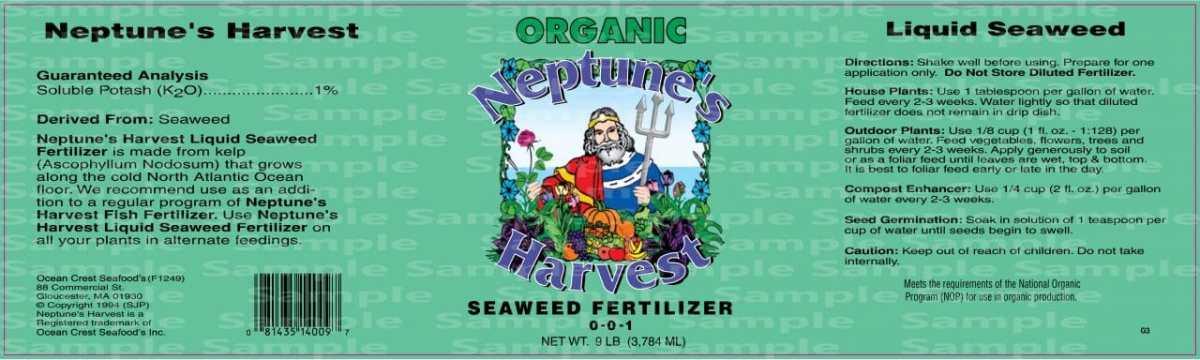 seaweed fertilizer label