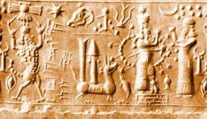 Representación moderna de un sello neo-asirio.
