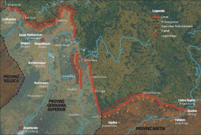 Mapa del limes germánico, frontera que terminó de completar Adriano.