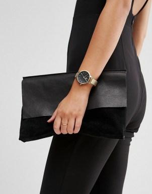 ASOS - Montre à grand cadran noir mat et bracelet fin en maille 33,99 €