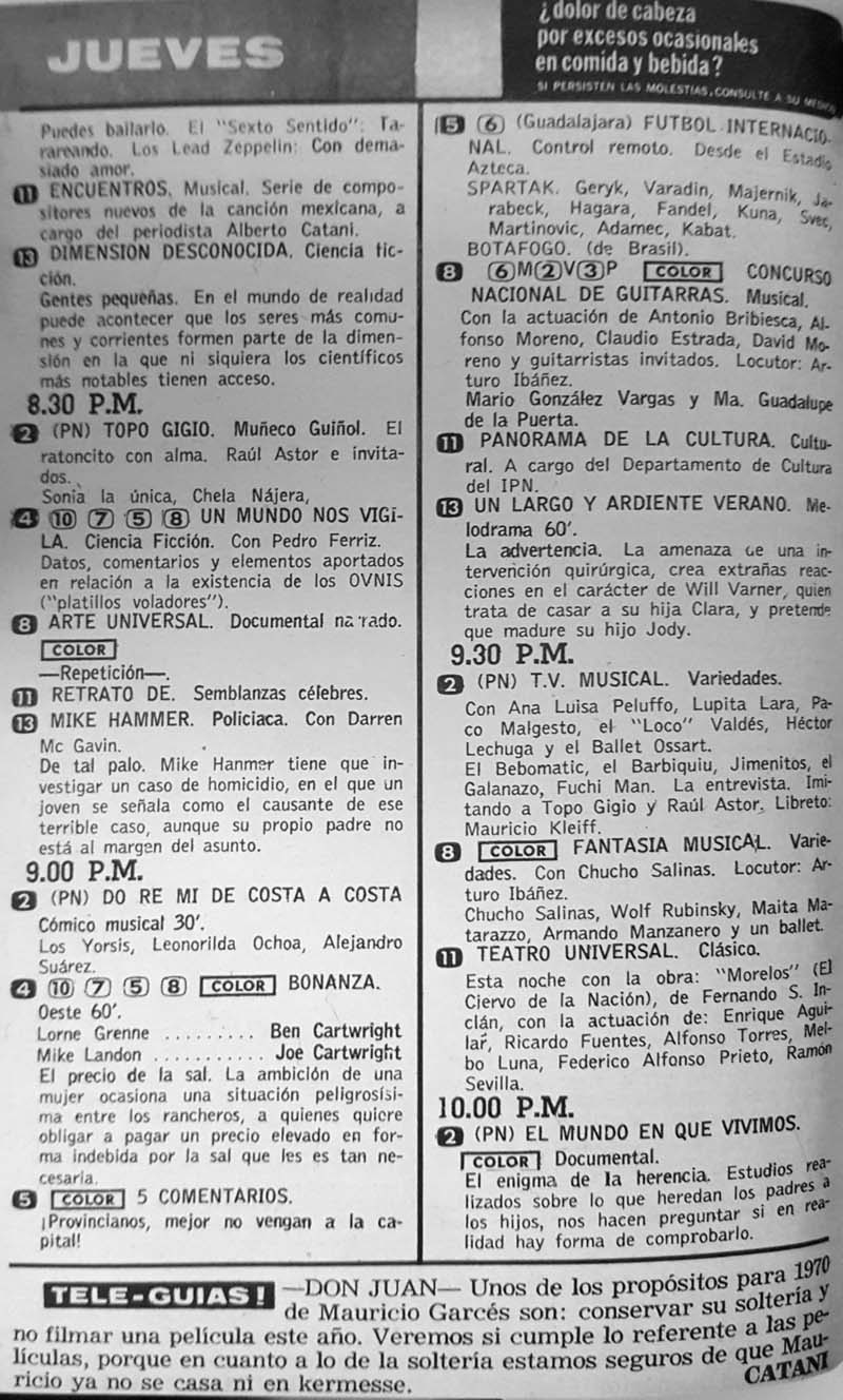16-revista teleguia enero 1970 topo gigio un mundo nos vigila mike hammer do re mi de costa