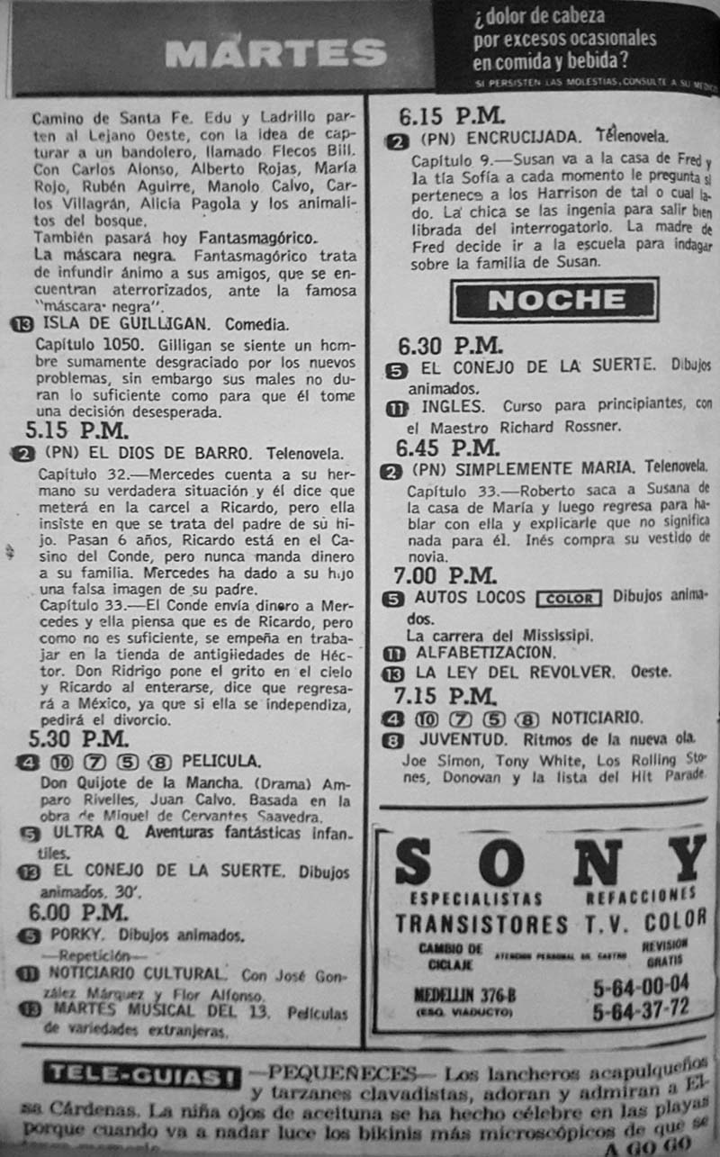 46-revista teleguia enero 1970 porky autos locos conejo de la suerte sony